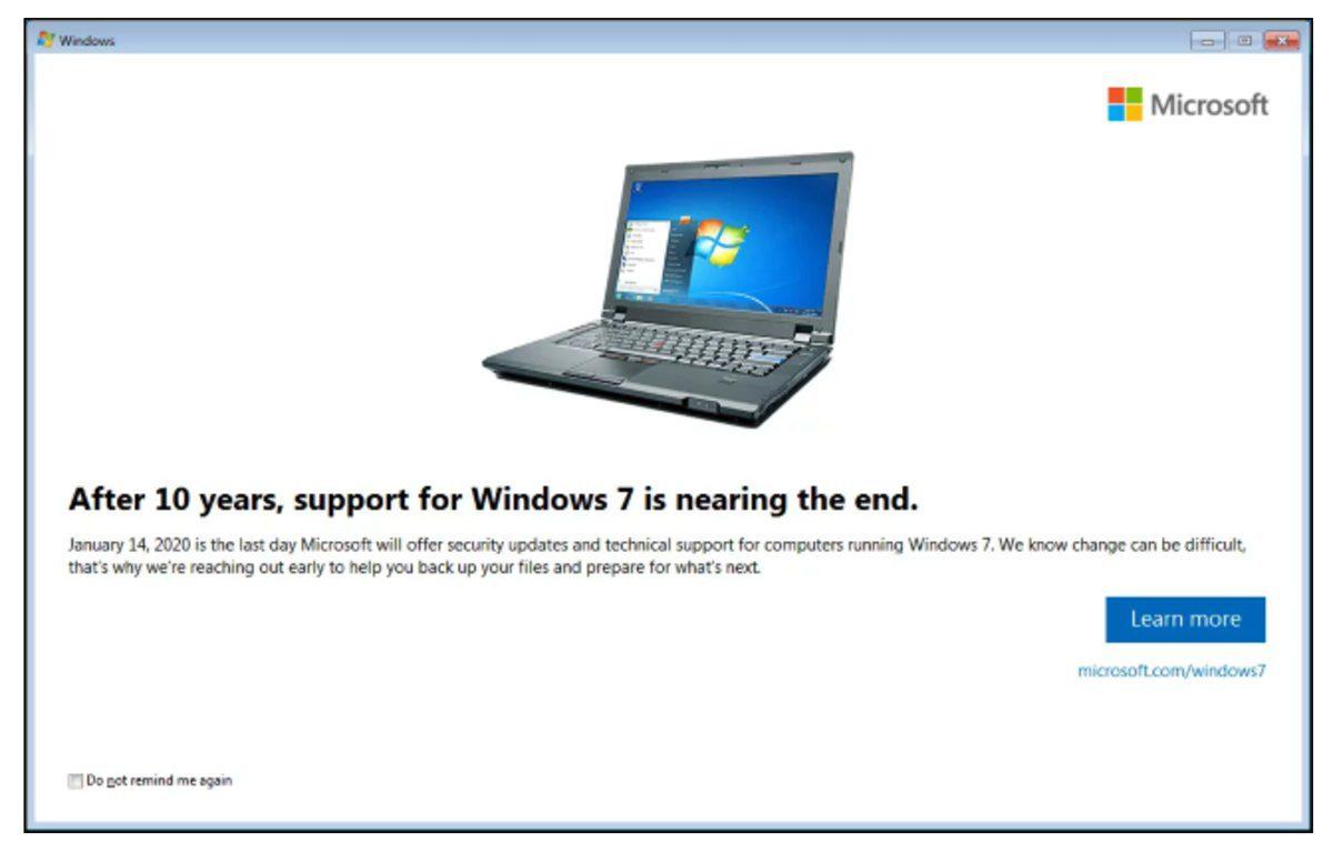 Windows 7 final de la vida molesta