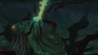 Un cadáver de Gerudo, probablemente Ganon, es capturado por una fuerza misteriosa (Crédito de la foto: Nintendo)