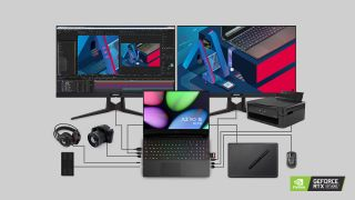 La amplia gama de funciones de conectividad del AERO 15 OLED le permite trabajar con todos sus periféricos esenciales y accesorios de diseño.