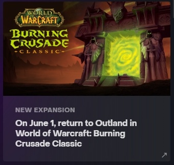 Captura de pantalla de un anuncio de Battle.net que muestra el 1 de junio como fecha de lanzamiento de The Burning Crusade Classic