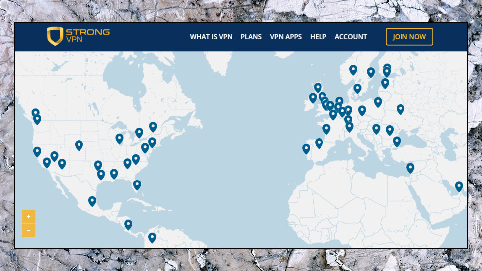 Mapa de servidores StrongVPN