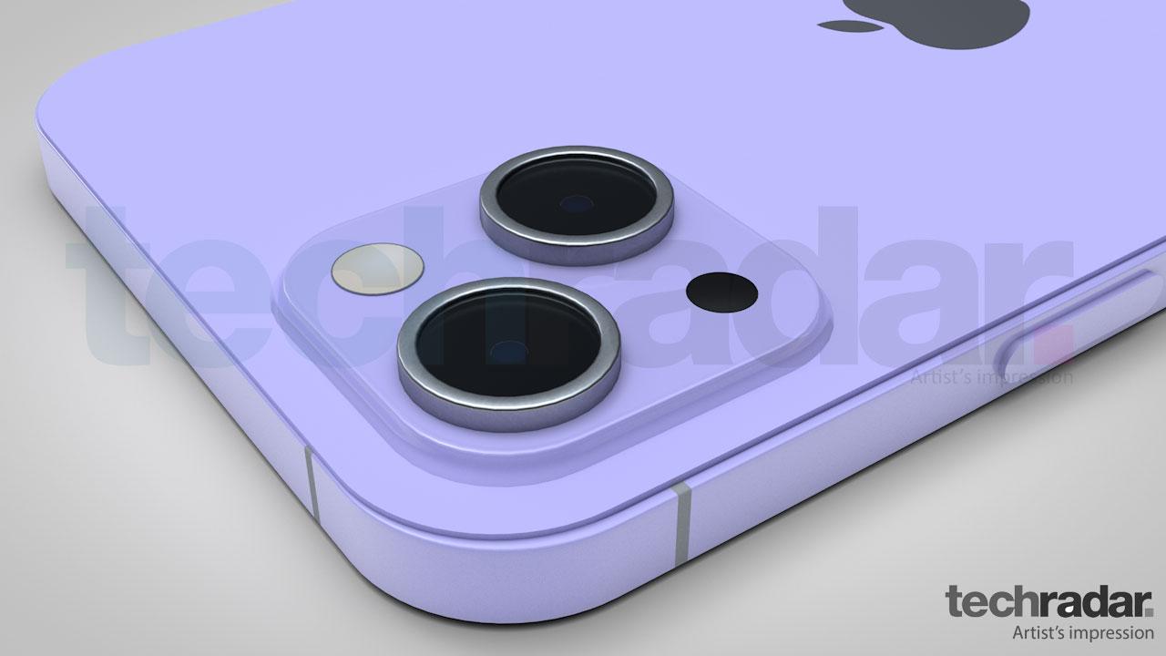 Impresión artística de la cámara del iPhone 13 en violeta