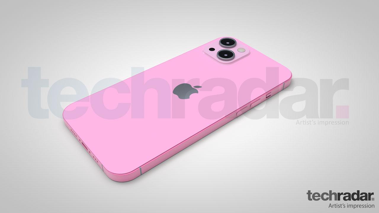 Impresión artística del iPhone 13 en rosa
