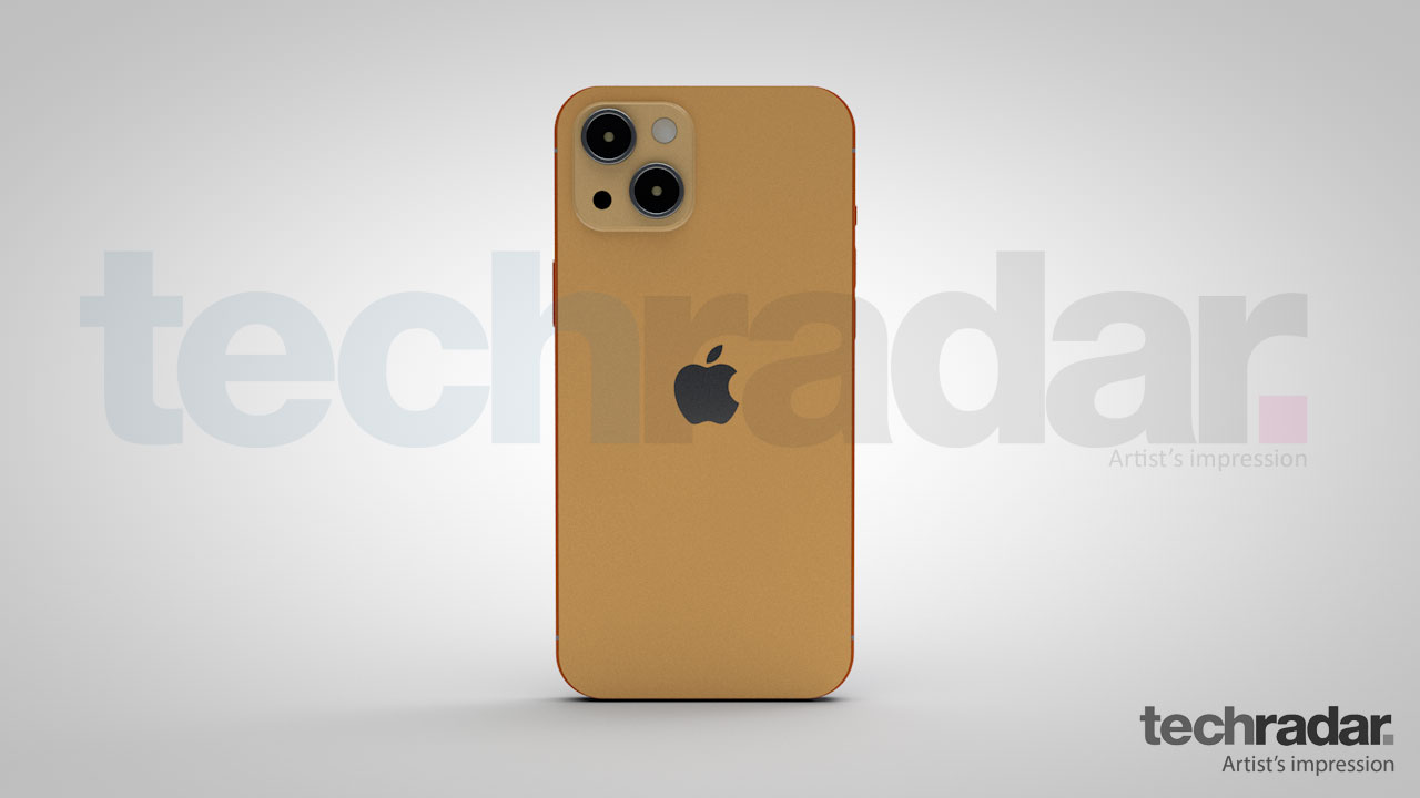 Impresión artística del iPhone 13 en naranja que muestra el diseño trasero del teléfono