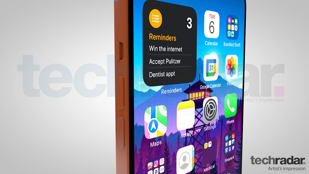 Impresión artística del iPhone 13 que muestra botones de volumen en el borde izquierdo