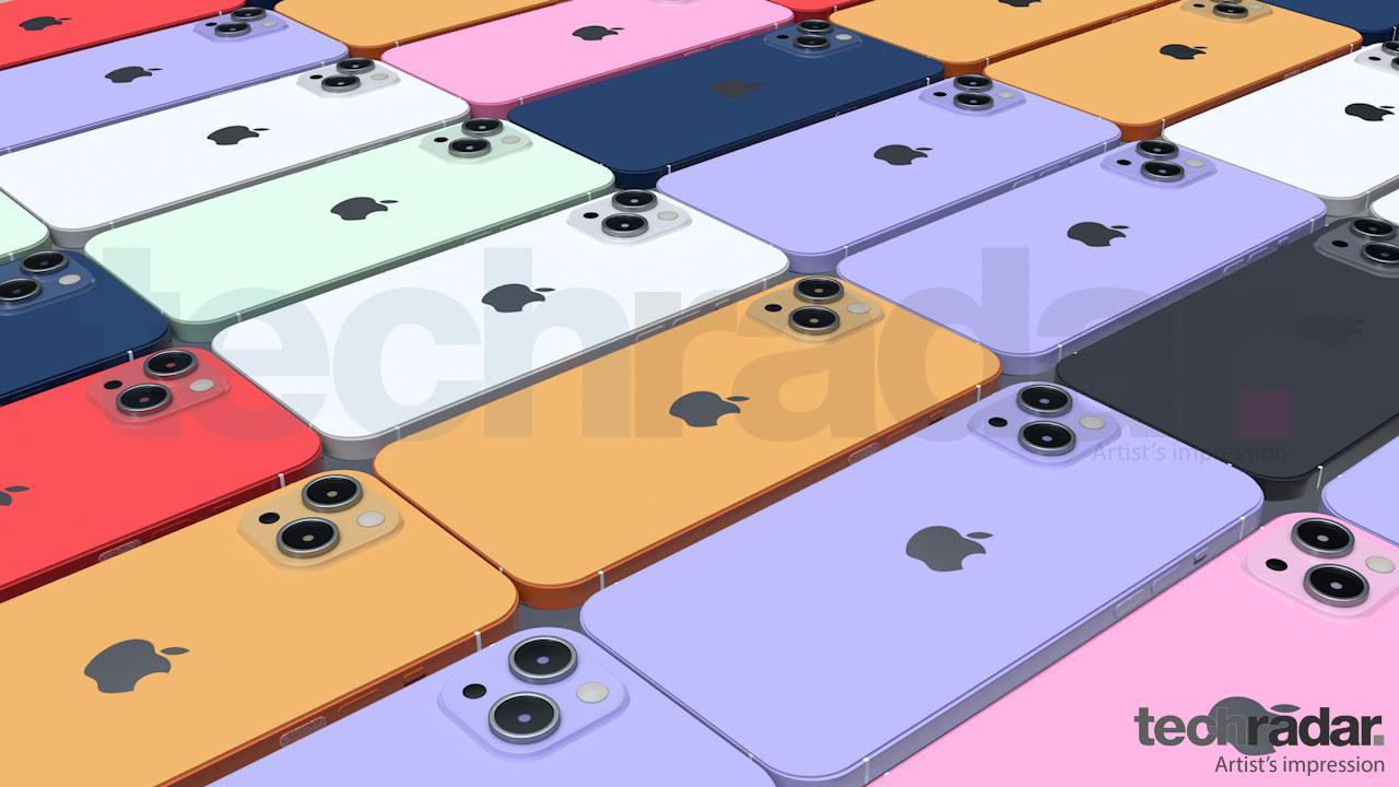 Impresión artística del iPhone 13 en ocho colores diferentes, incluidos rojo, azul y naranja