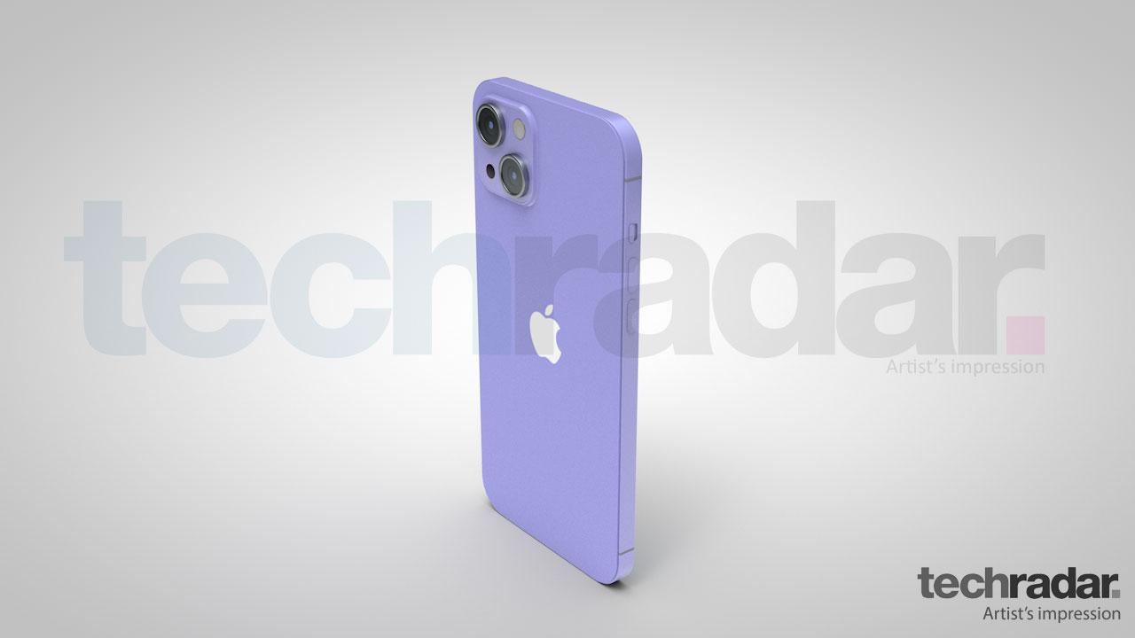 Impresión artística del iPhone 13 en violeta