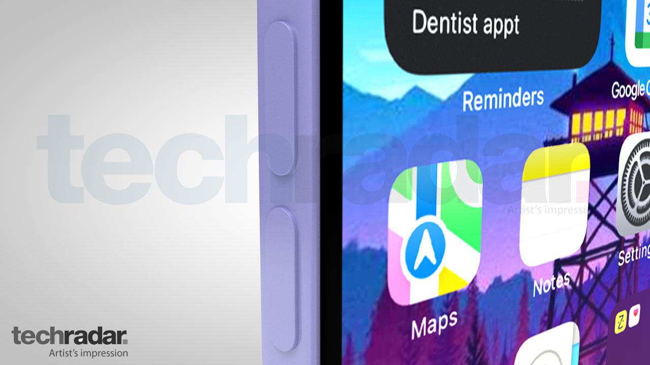 Impresión artística del iPhone 13 en violeta con botones de volumen