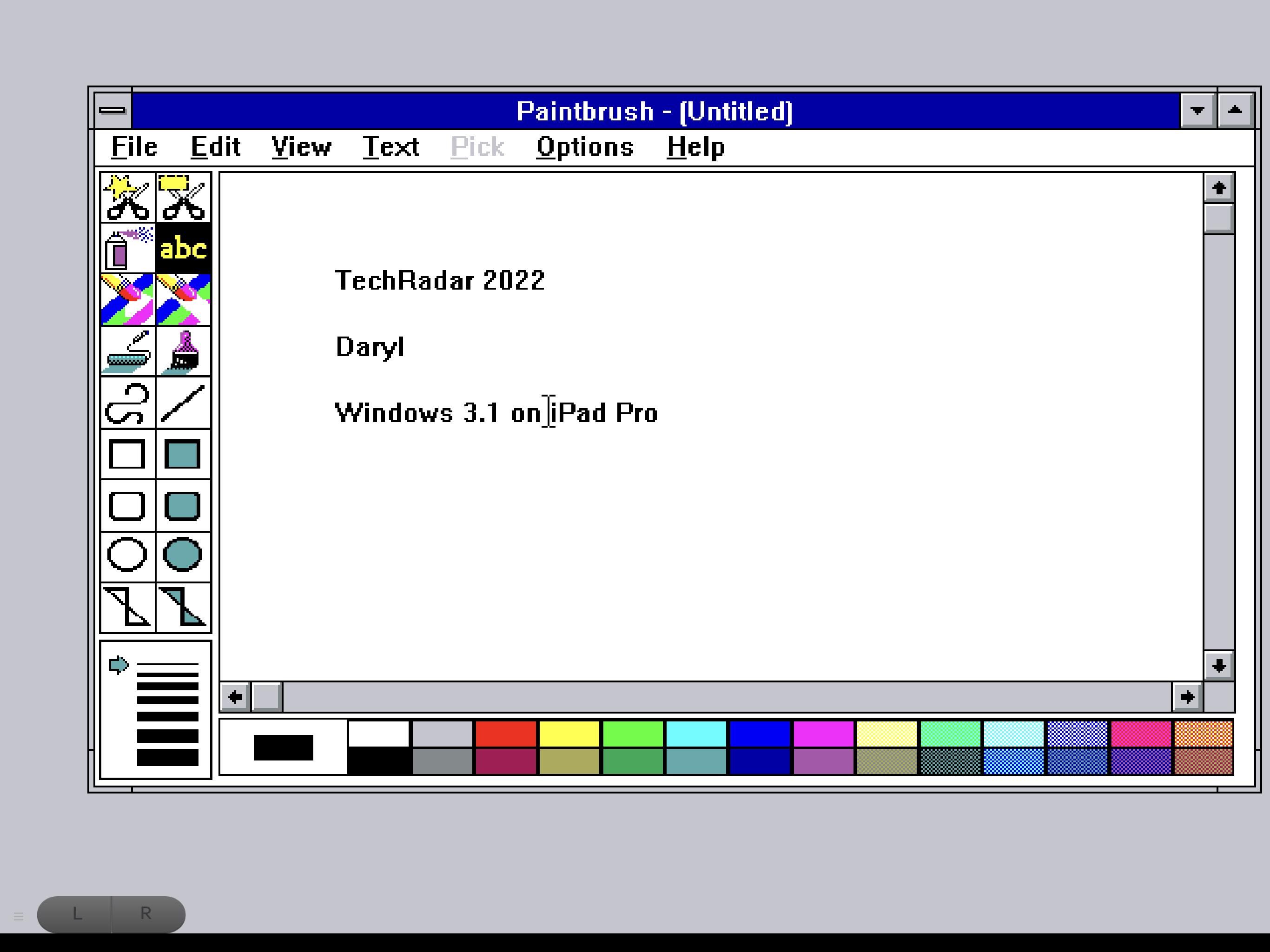 Windows 3.1 ejecutándose en iPad Pro, usando PaintBrush