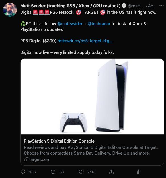 PS5 se reabastece en la alerta de Twitter de Target por Matt Swider