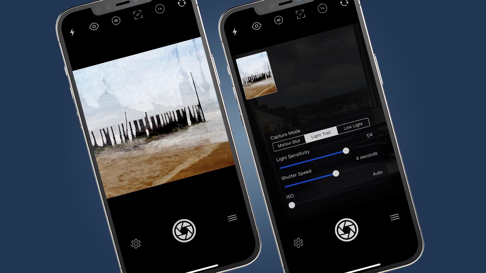 Dos iPhones que muestran la aplicación Slow Shutter Cam