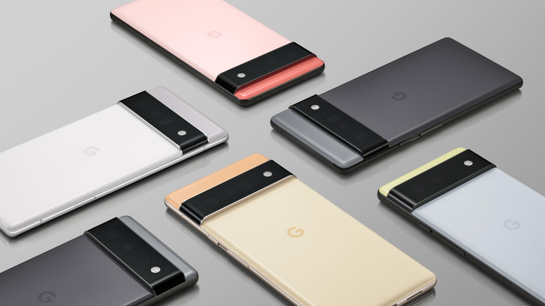 Seis Google Pixel 6 y 6 Pro acostados boca abajo sobre una superficie