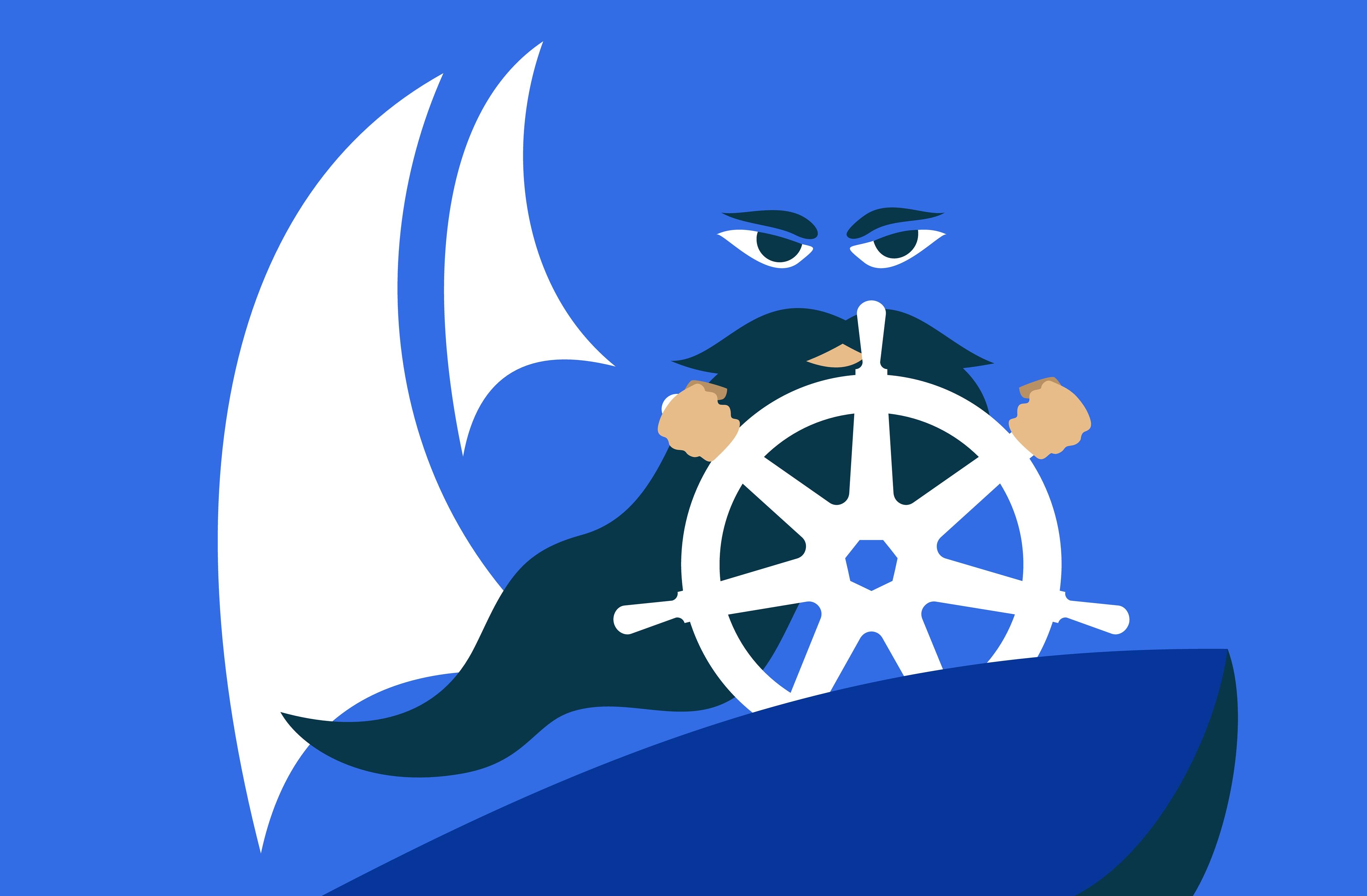 Gráfico vectorial de un desarrollador barbudo que usa el logotipo de Kubernetes como rueda en un bote