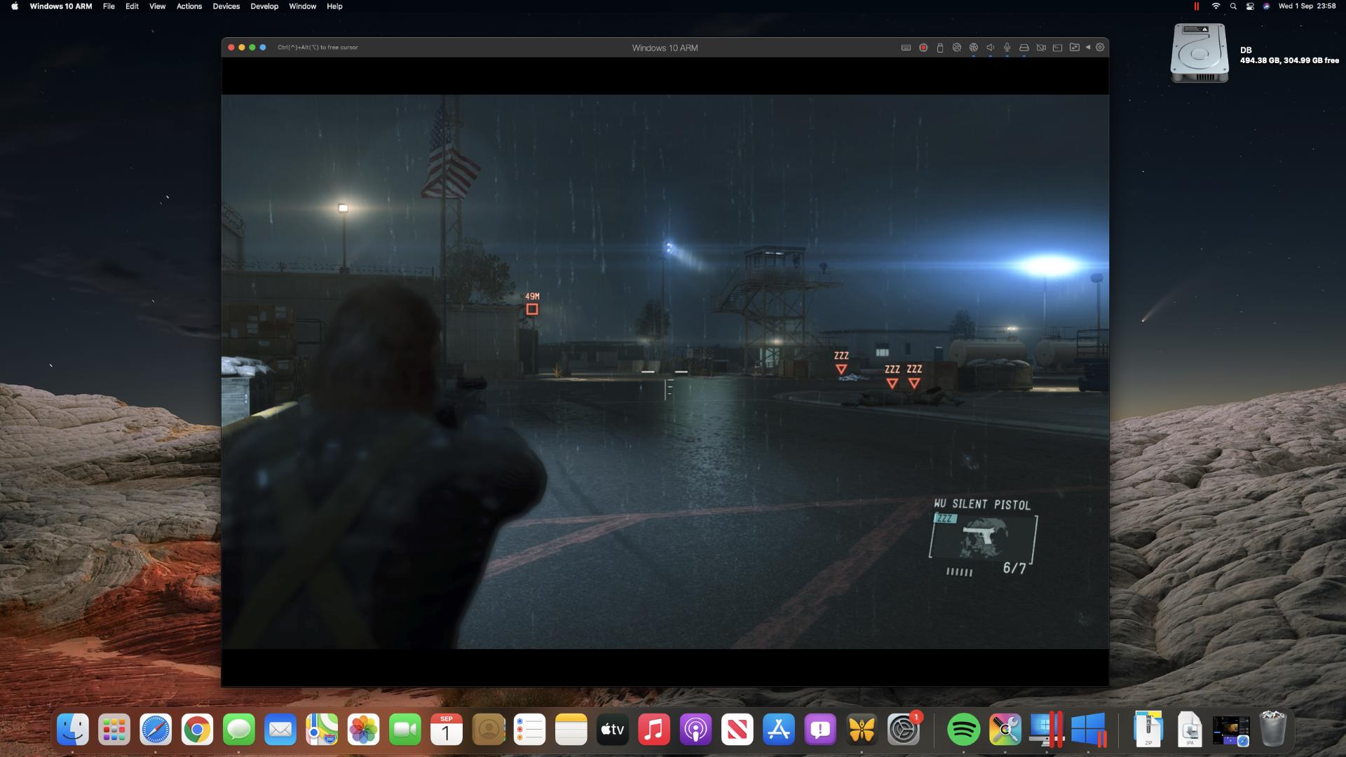 Metal Gear Solid V: Ground Zeroes en una Mac mini M1 a través de Steam