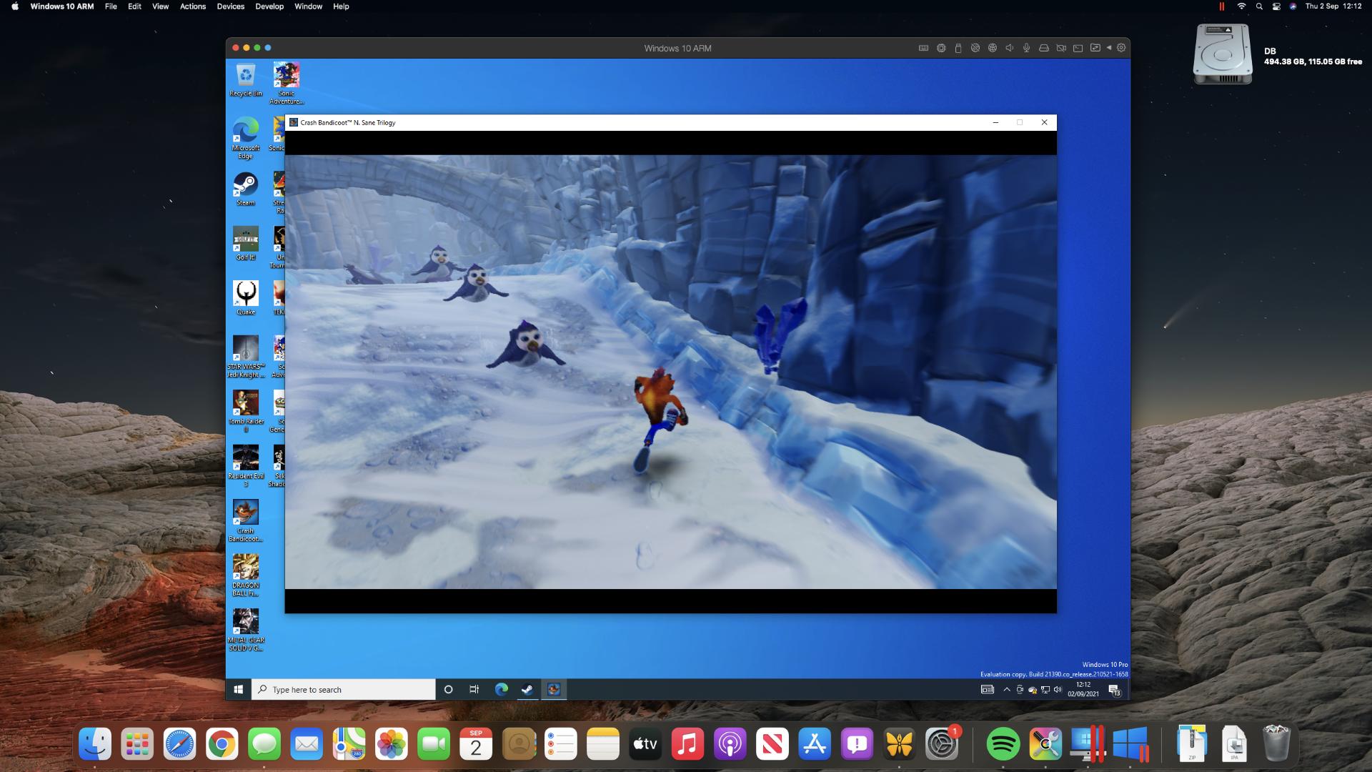 Crash Bandicoot Trilogy en una Mac mini M1 a través de Steam