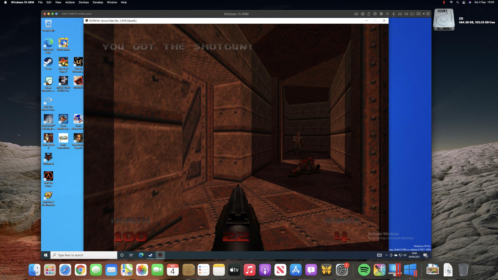 Quake ejecutándose en Parallels Desktop en una Mac mini M1