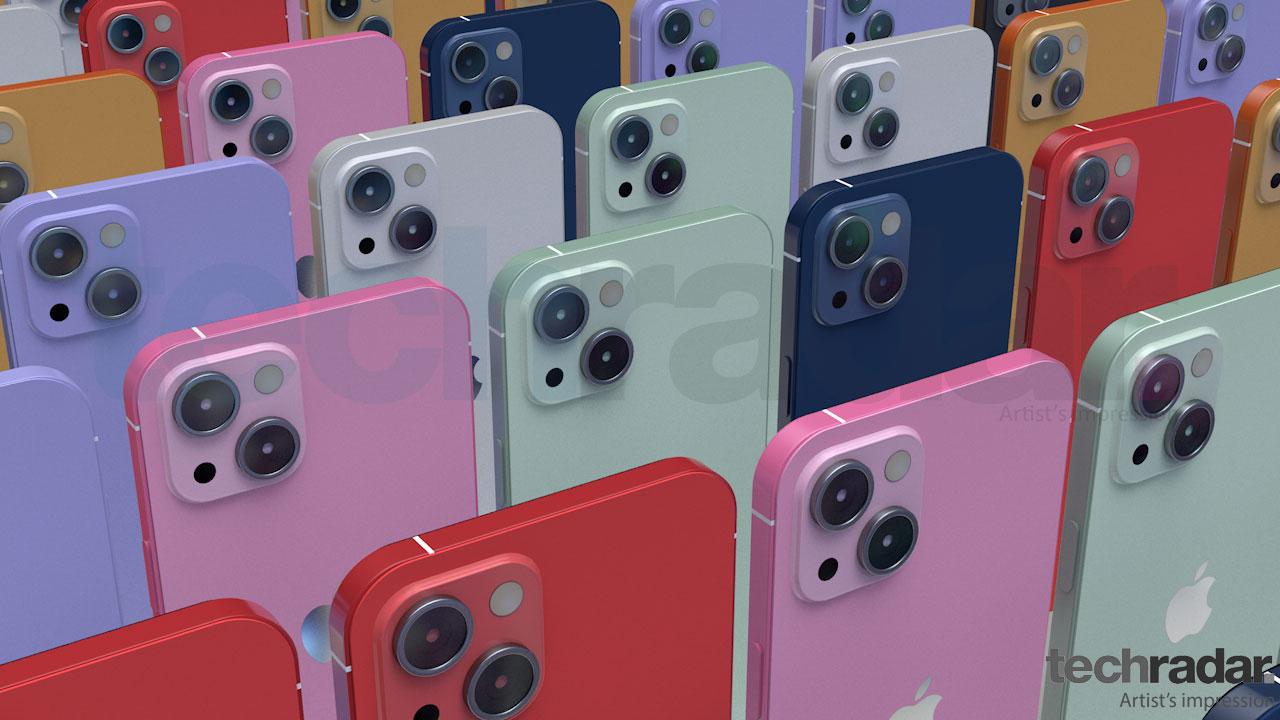 Impresión artística del iPhone 13 en una variedad de colores que incluyen rojo, rosa y azul