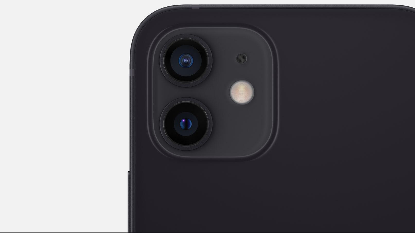 Primer plano de las cámaras traseras del iPhone 12
