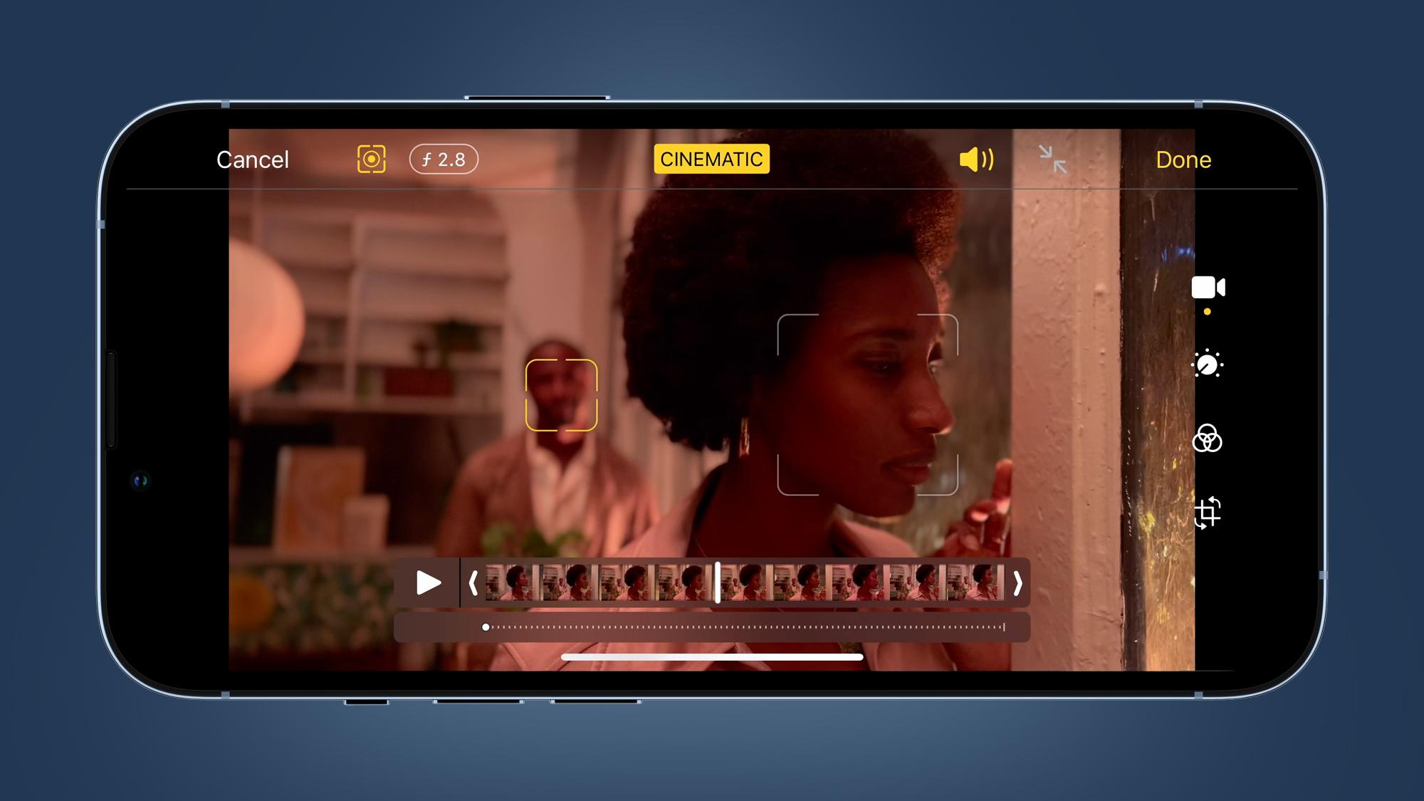 Cortar en modo cinemático en el iPhone 13