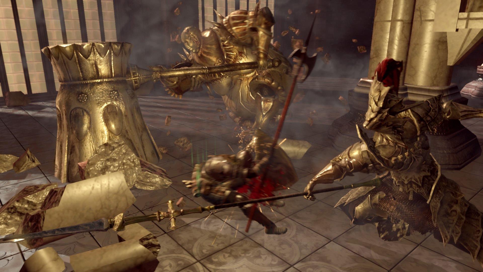 Dark Souls Ornstein y Smough luchan contra el jefe