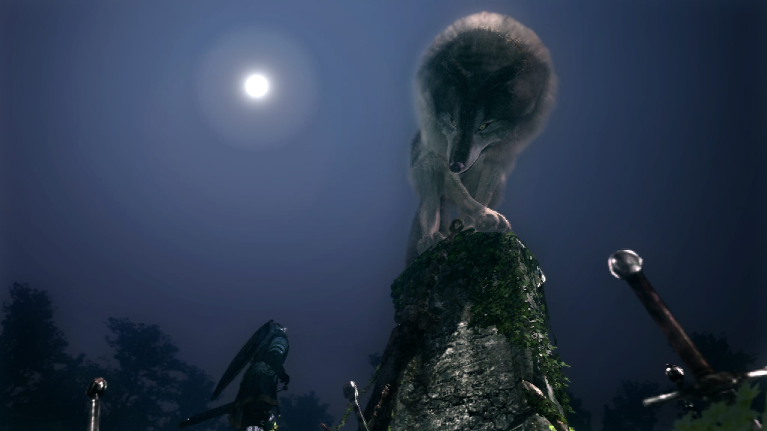 Introducción a Dark Souls Great Grey Wolf Sif Boss