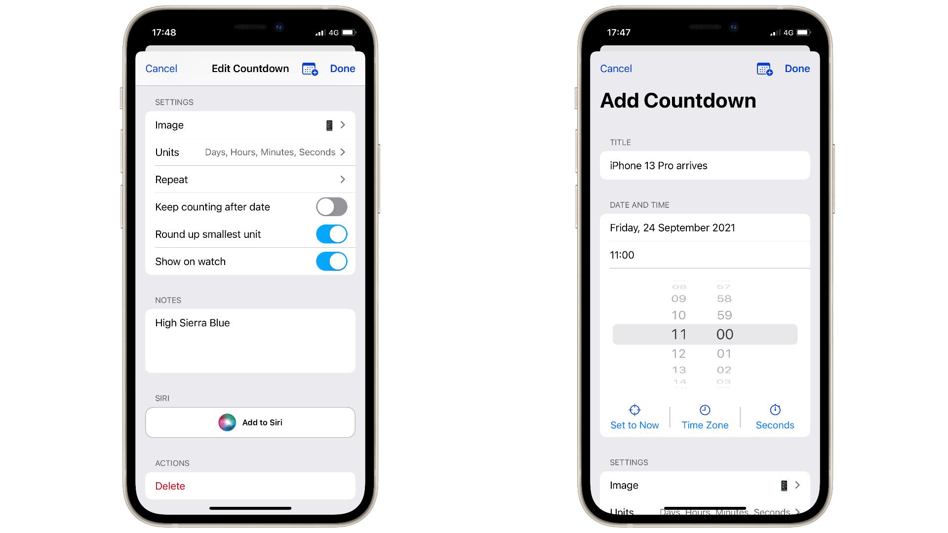 Aplicación Countdownns en iOS 15