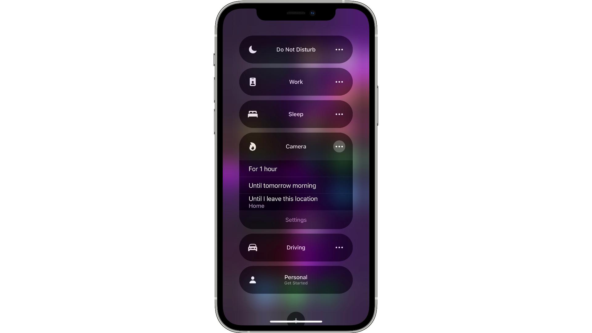 Configuración de enfoque finalizada para elegir en iOS 15